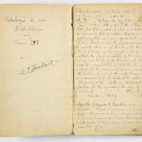 Carnet d'Auguste Dubois. Catalogue de sa bibliothèque personnelle