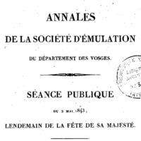 Archives de la Société d'émulation des Vosges (fondée en 1825)